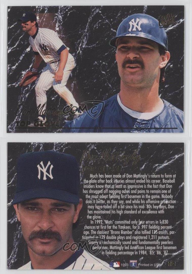 1993 Fleer Ultra Top Gloves 12 Don Mattingly New York