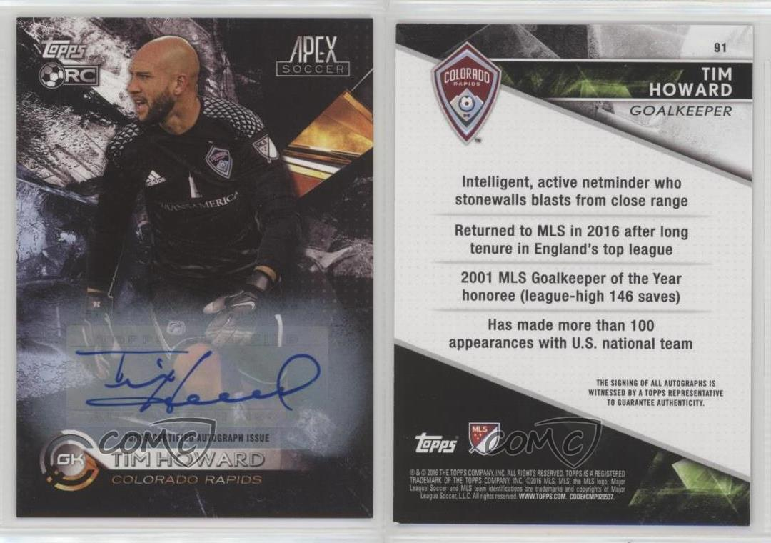 2016-Topps-Apex-Autographs-Autographed-91-Tim-Howard-United-States-Auto-Card