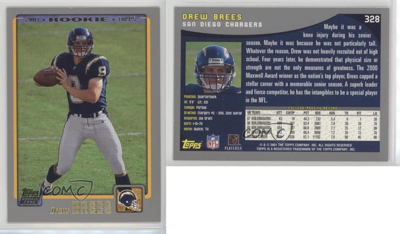 2001 Topps 328 Drew Brees San Diego Chargers Rc Rookie