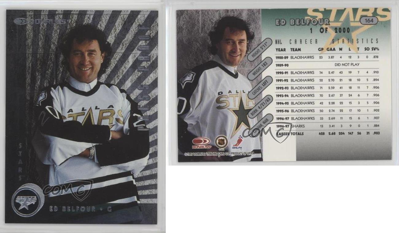 1997-98-Donruss-Silver-Press-Proof-164-Ed-Belfour-Dallas-Stars-Hockey-Card