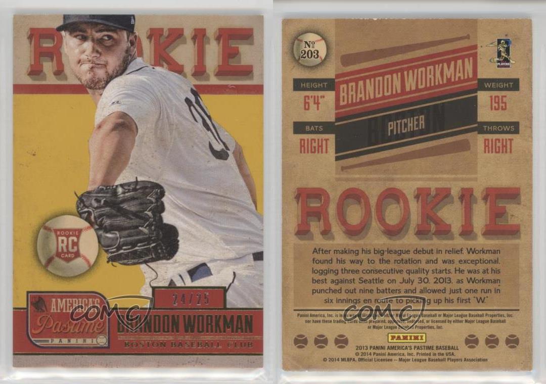 2013-Panini-America-039-s-Pastime-Gold-203-Brandon-Workman-Boston-Red-Sox-Card