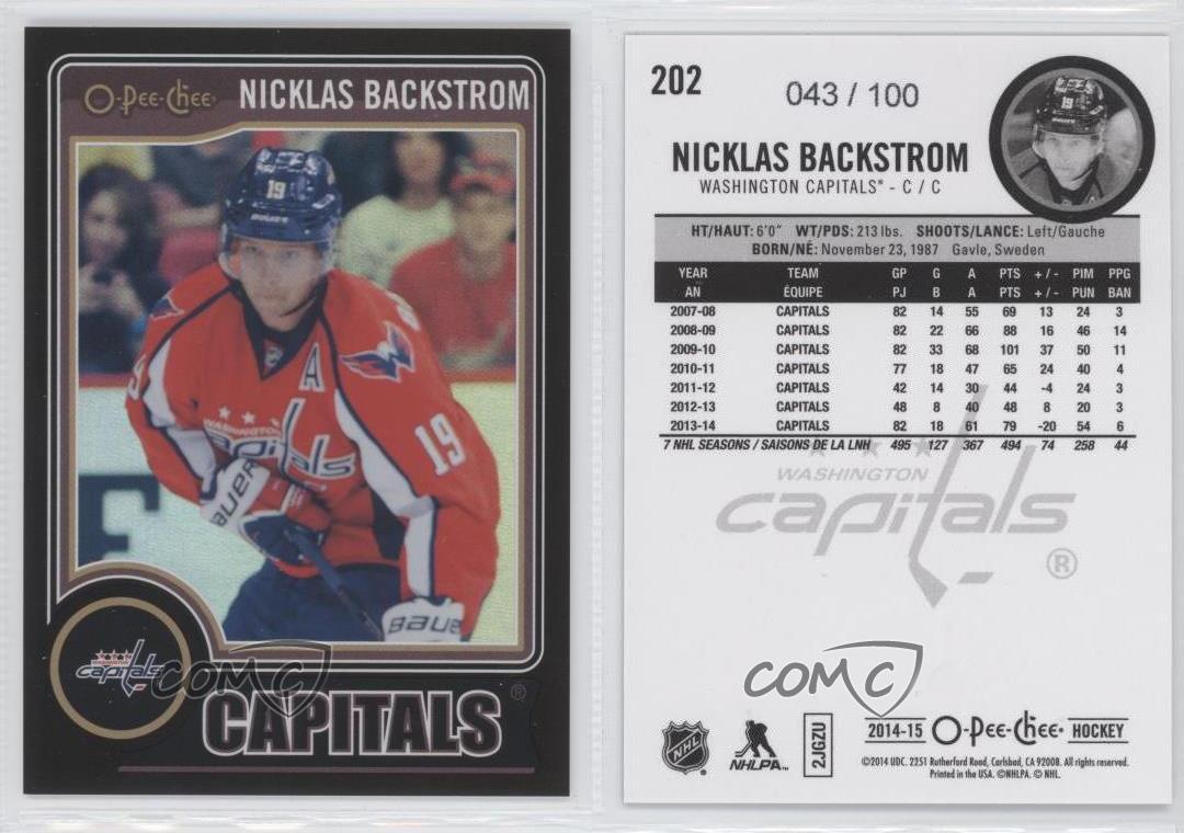 2014-15-O-Pee-Chee-Black-Rainbow-202-Nicklas-Backstrom-Washington-Capitals-Card