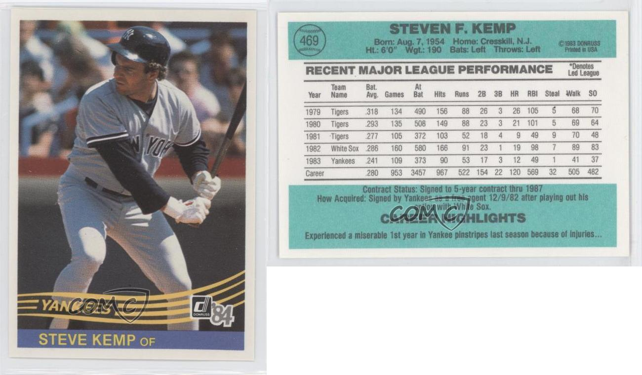 1984 Donruss 469 Steve Kemp New York Yankees Baseball