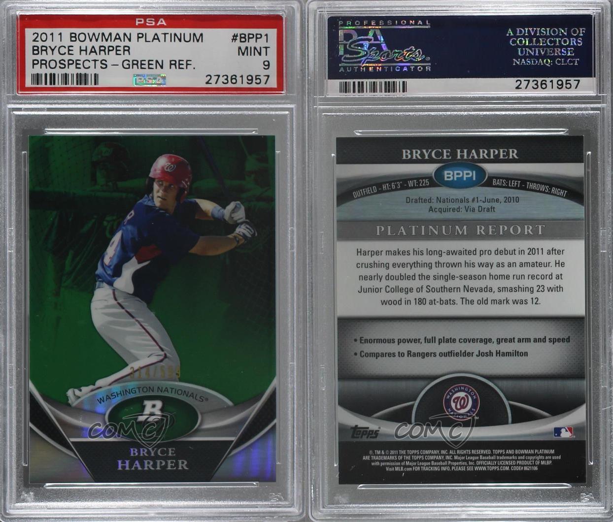 2011-Bowman-Platinum-Prospects-Refractor-Green-BPP1-Bryce-Harper-PSA-9-MINT-Card