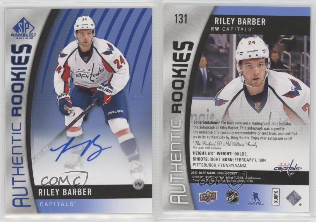 2017-Upper-Deck-SP-Game-Used-131-Authentic-Rookies-Riley-Barber-Auto-Hockey-Card