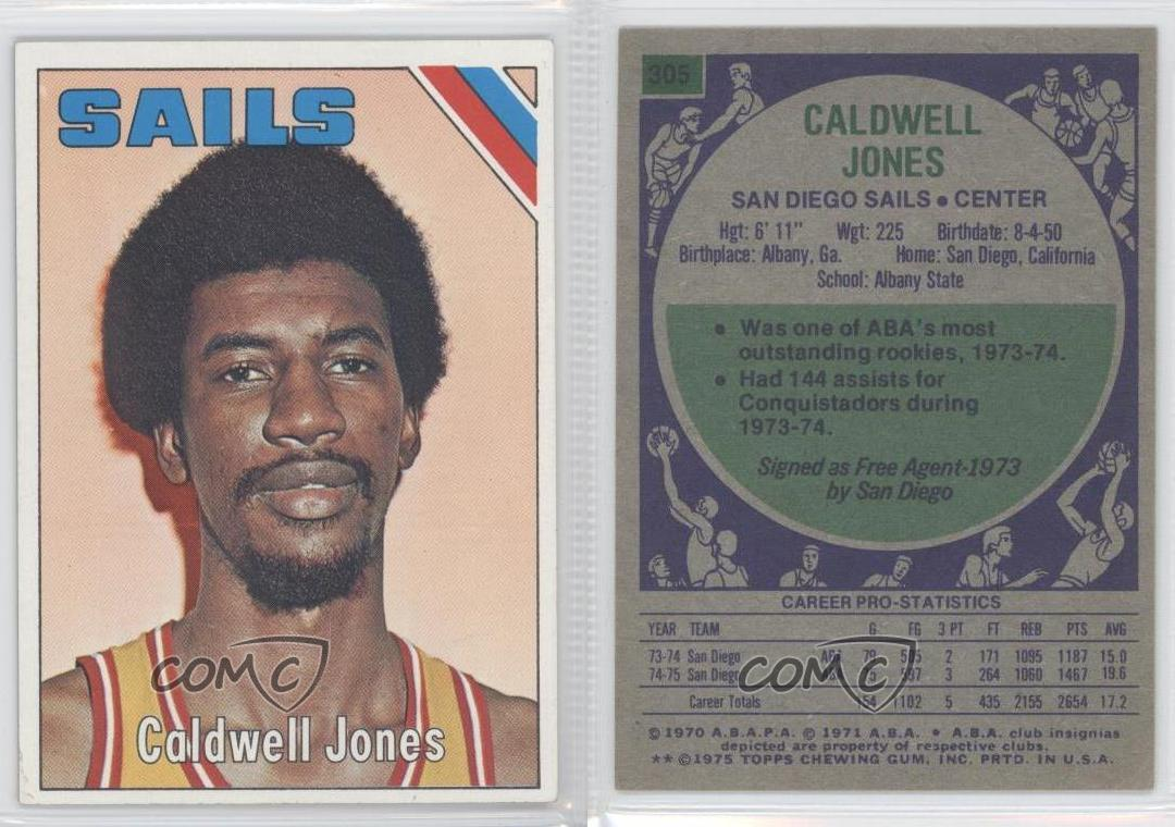 1975 76 Topps 305 Caldwell Jones San Diego Sails ABA Basketball