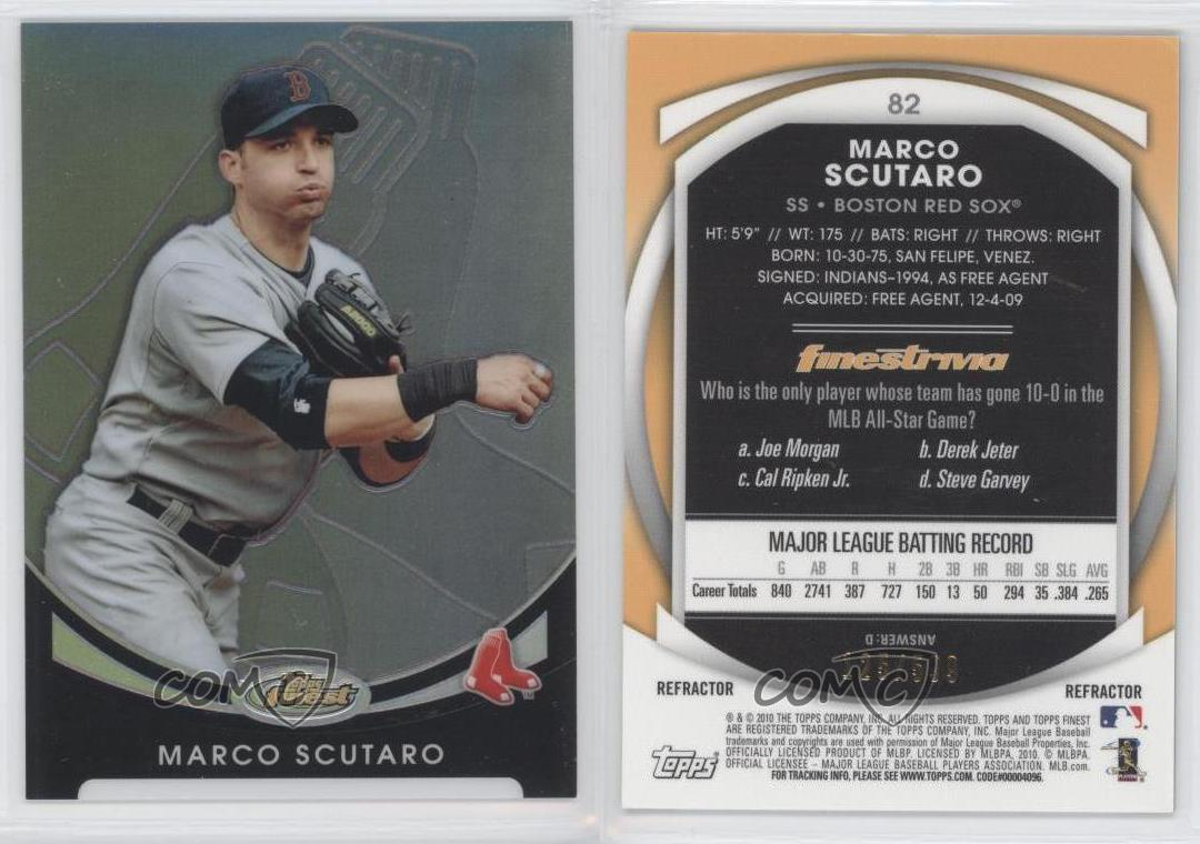 2010 Topps Finest Refractor #82 Marco Scutaro Boston Red Sox ...