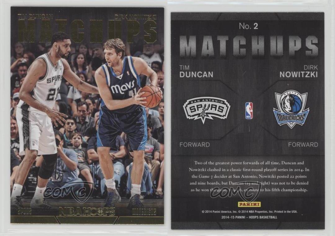 2014-15-NBA-Hoops-Matchups-2-Dirk-Nowitzki-Tim-Duncan-San-Antonio-Spurs-Card