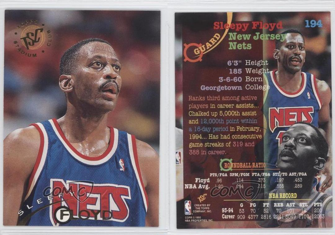 1994 95 Topps Stadium Club 194 Sleepy Floyd Nueva Jersey Nets