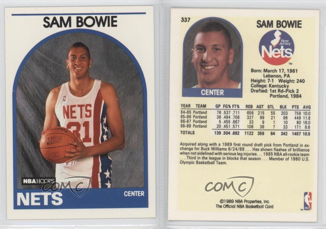 1989 90 NBA Hoops 337 Sam Bowie New Jersey Nets Basketball Card