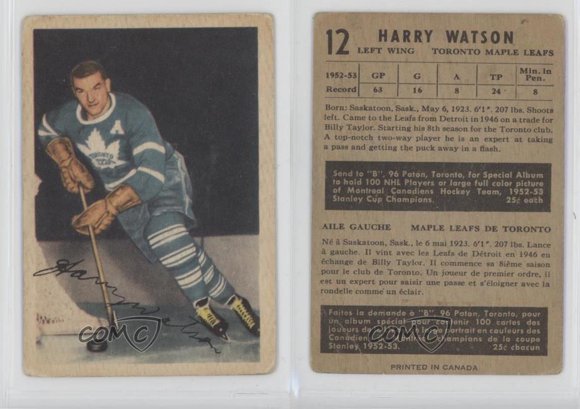 1953-54-Parkhurst-12-Harry-Watson-Toronto-Maple-Leafs-Hockey-Card