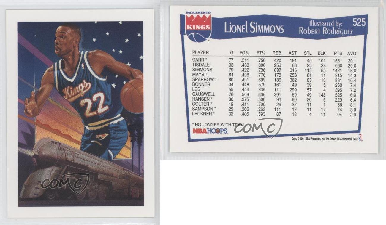 1991 92 NBA Hoops 525 Lionel Simmons Sacramento Kings Basketball