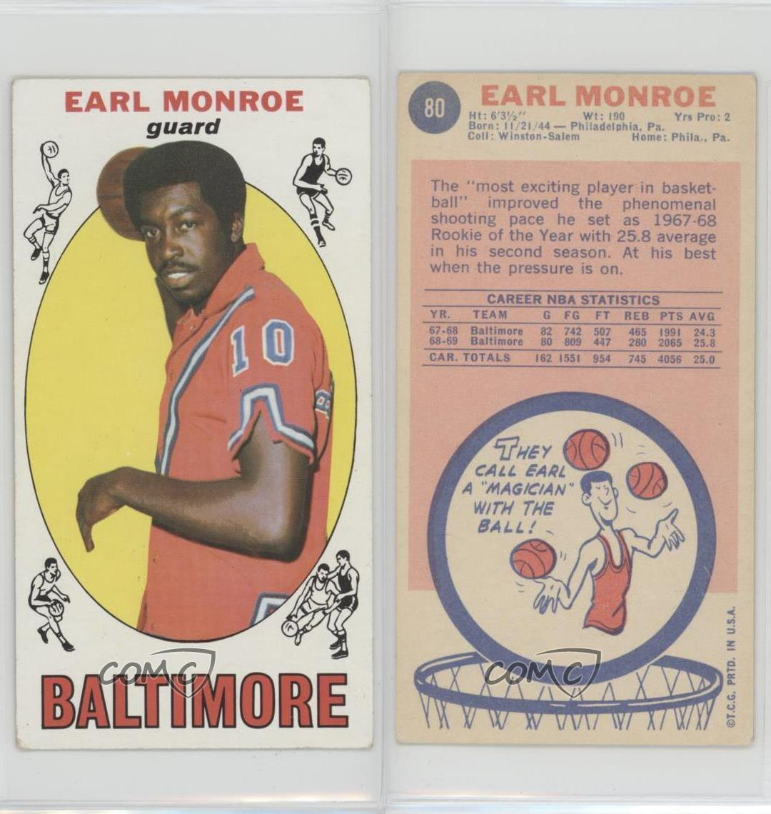 1969 70 Topps 80 Earl Monroe Baltimore Bullets RC Rookie
