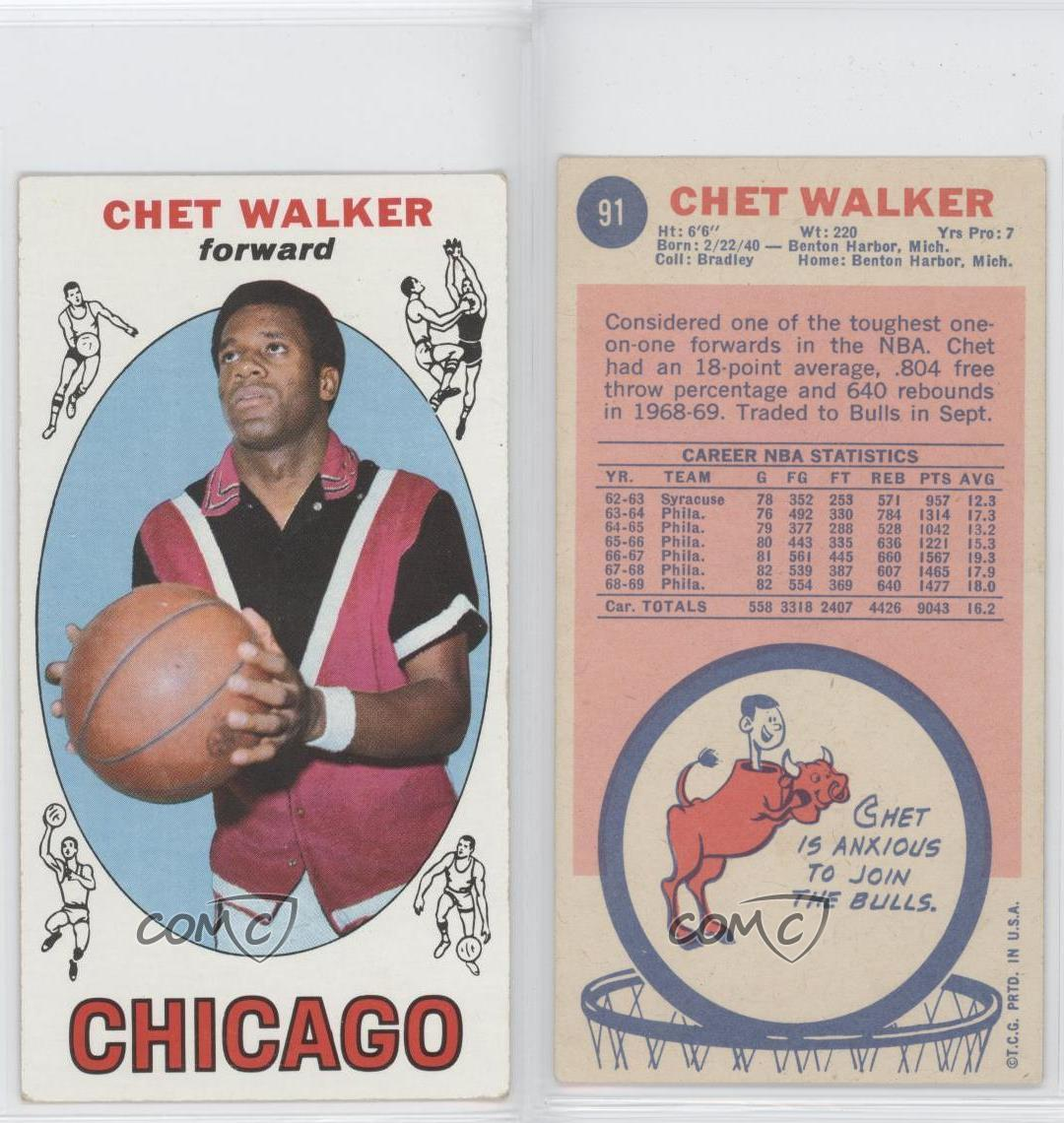 1969 70 Topps 91 Chet Walker Chicago Bulls RC Rookie Basketball