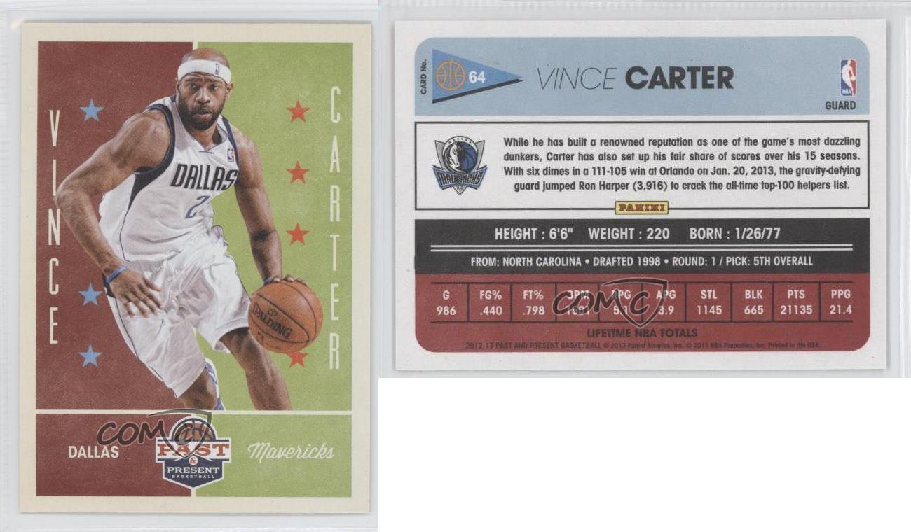 2012-13-Panini-Past-amp-Present-64-Vince-Carter-Dallas-Mavericks-Basketball-Card