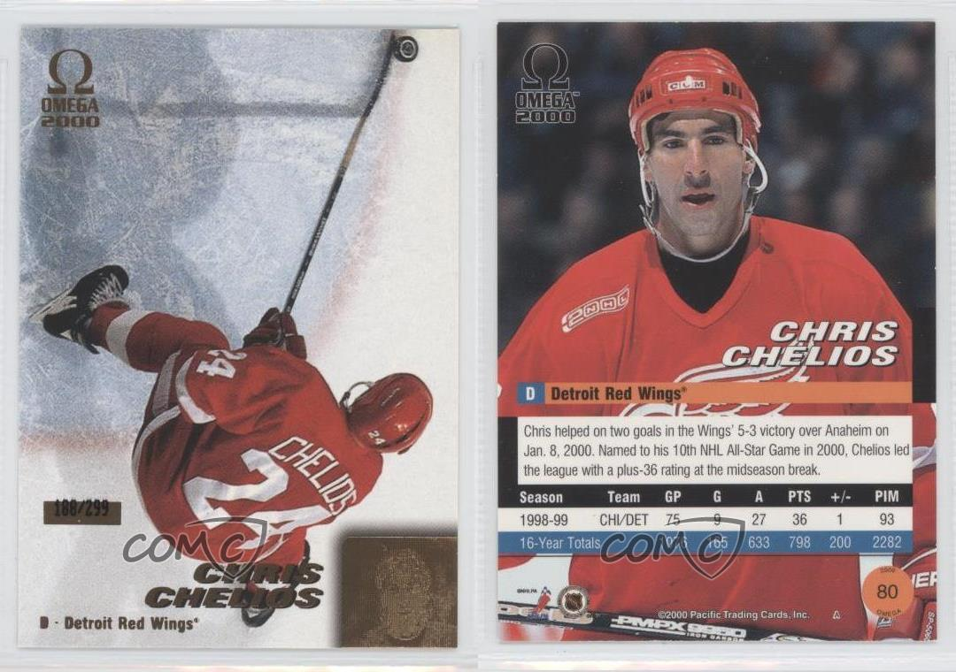 1999-00-Pacific-Omega-Gold-80-Chris-Chelios-Detroit-Red-Wings-Hockey-Card