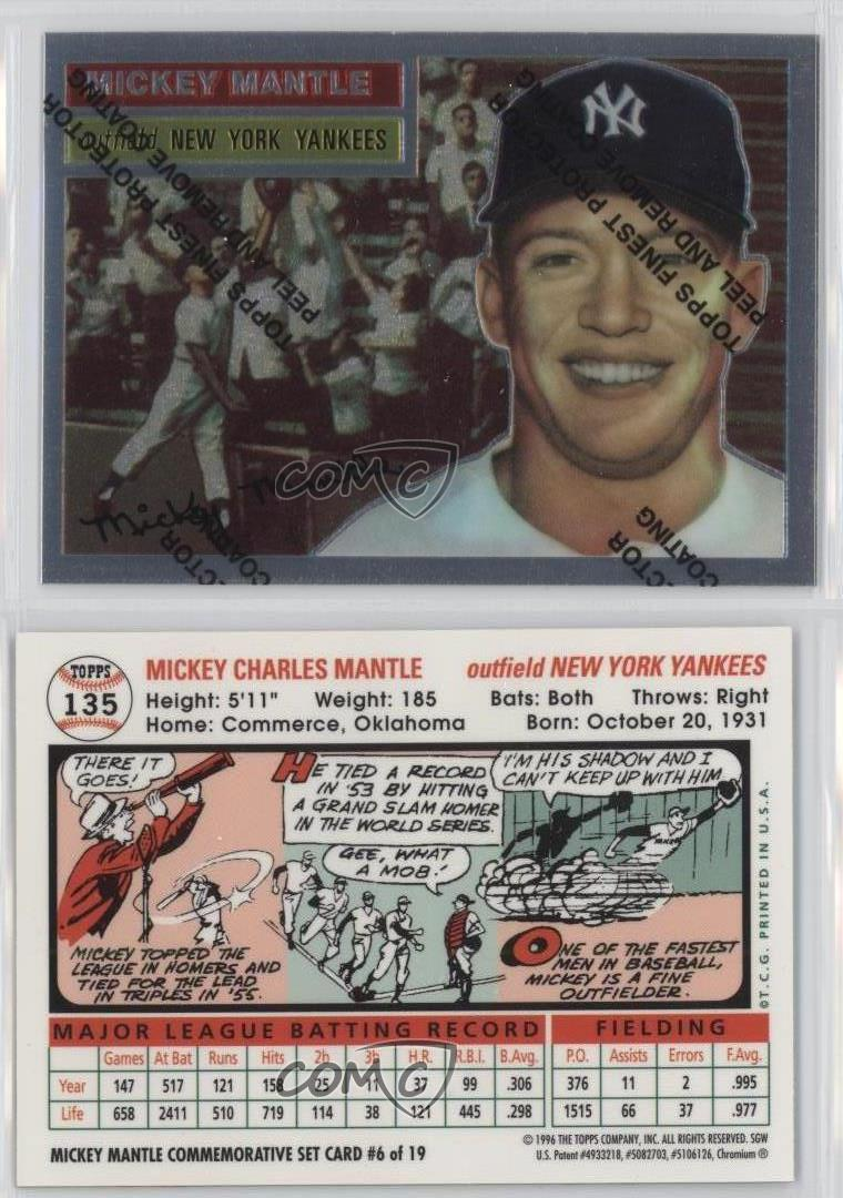 1996 Topps Commemorative Reprints Finest #6 Mickey Mantle