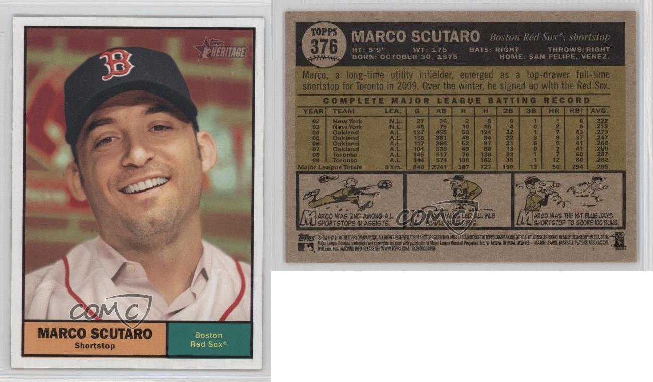 2010 Topps Heritage #376 Marco Scutaro Boston Red Sox Baseball Card ...