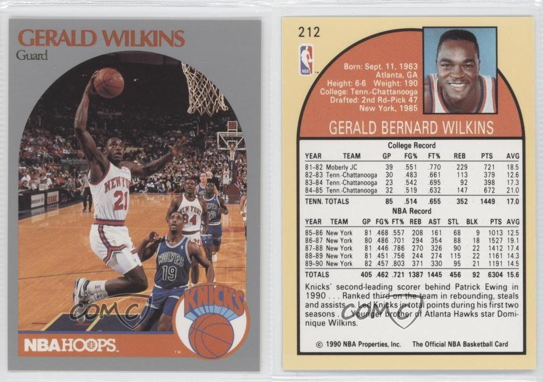 1990 91 Nba Hoops 212 GERALD WILKINS New York Knicks de