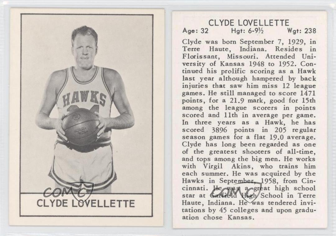 1961 62 Es Meats St Louis Hawks Cllo Clyde Lovellette Tarjeta