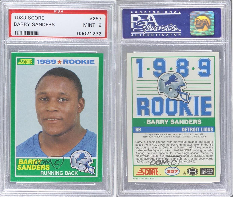 1989 Score #257 Barry Sanders PSA 9 Detroit Lions RC