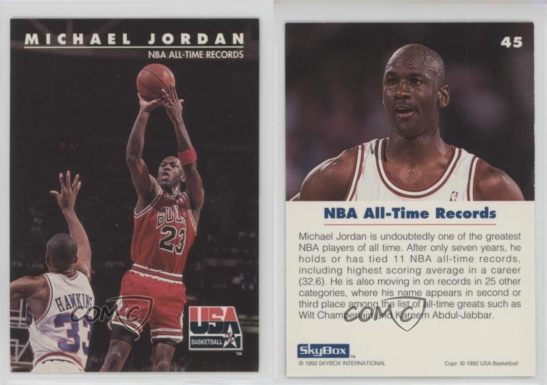 best sneakers c9507 33bfc 1992-93-Skybox-USA-45-Michael-Jordan-Chicago-