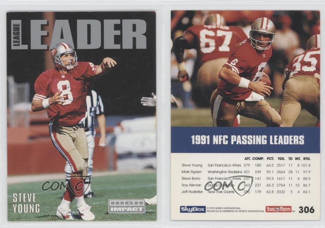 1992-Skybox-Impact-306-Steve-Young-San-Francisco-49ers-Football-Card