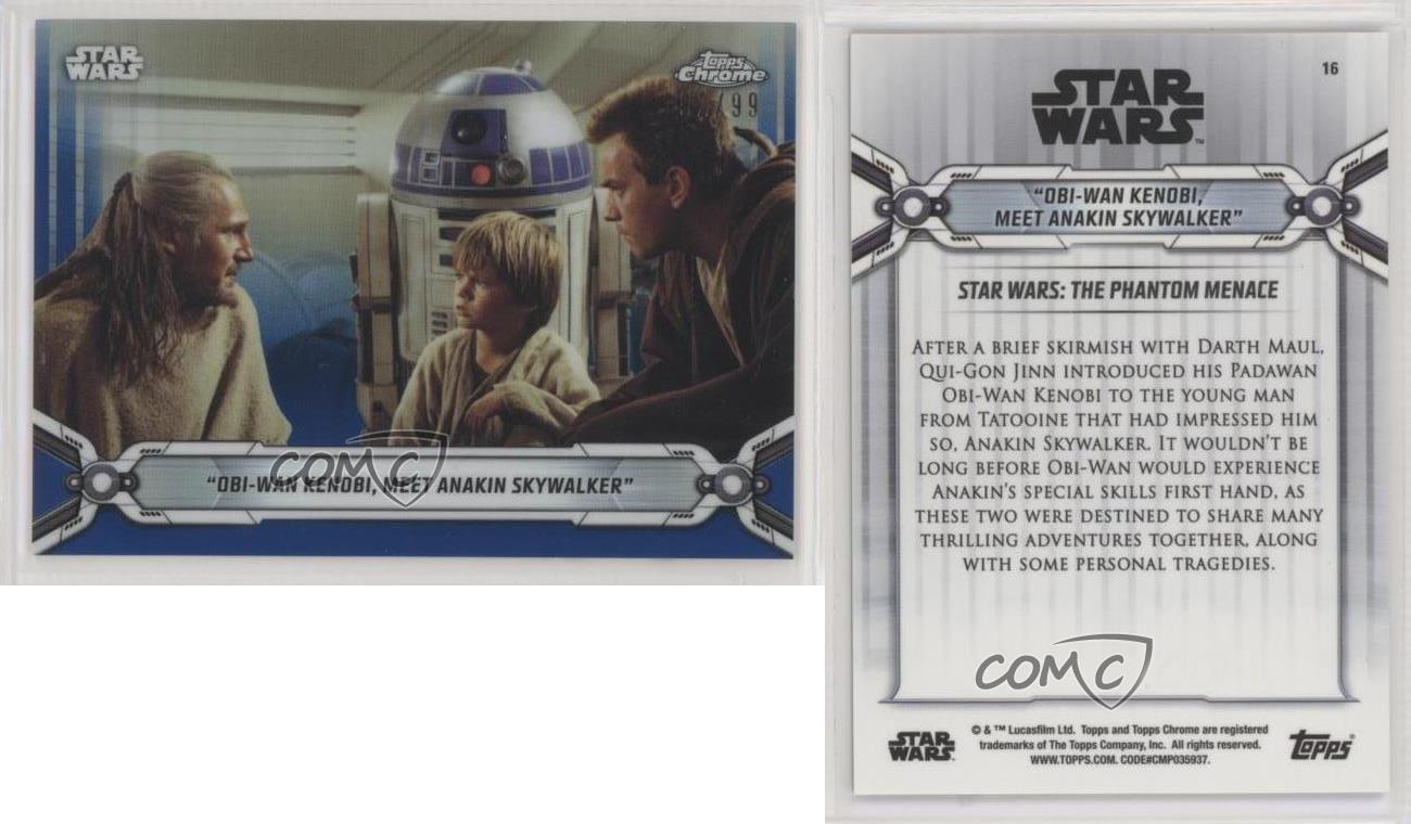 "2019 Topps Chrome Star Wars Base #16 /""Obi-Wan Kenobi meet Anakin Skywalker/"""