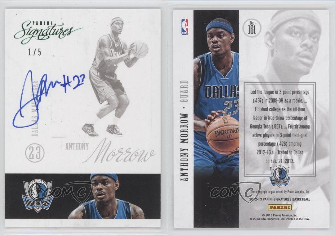 2012-13-Panini-Signatures-Green-161-Anthony-Morrow-Dallas-Mavericks-Auto-Card