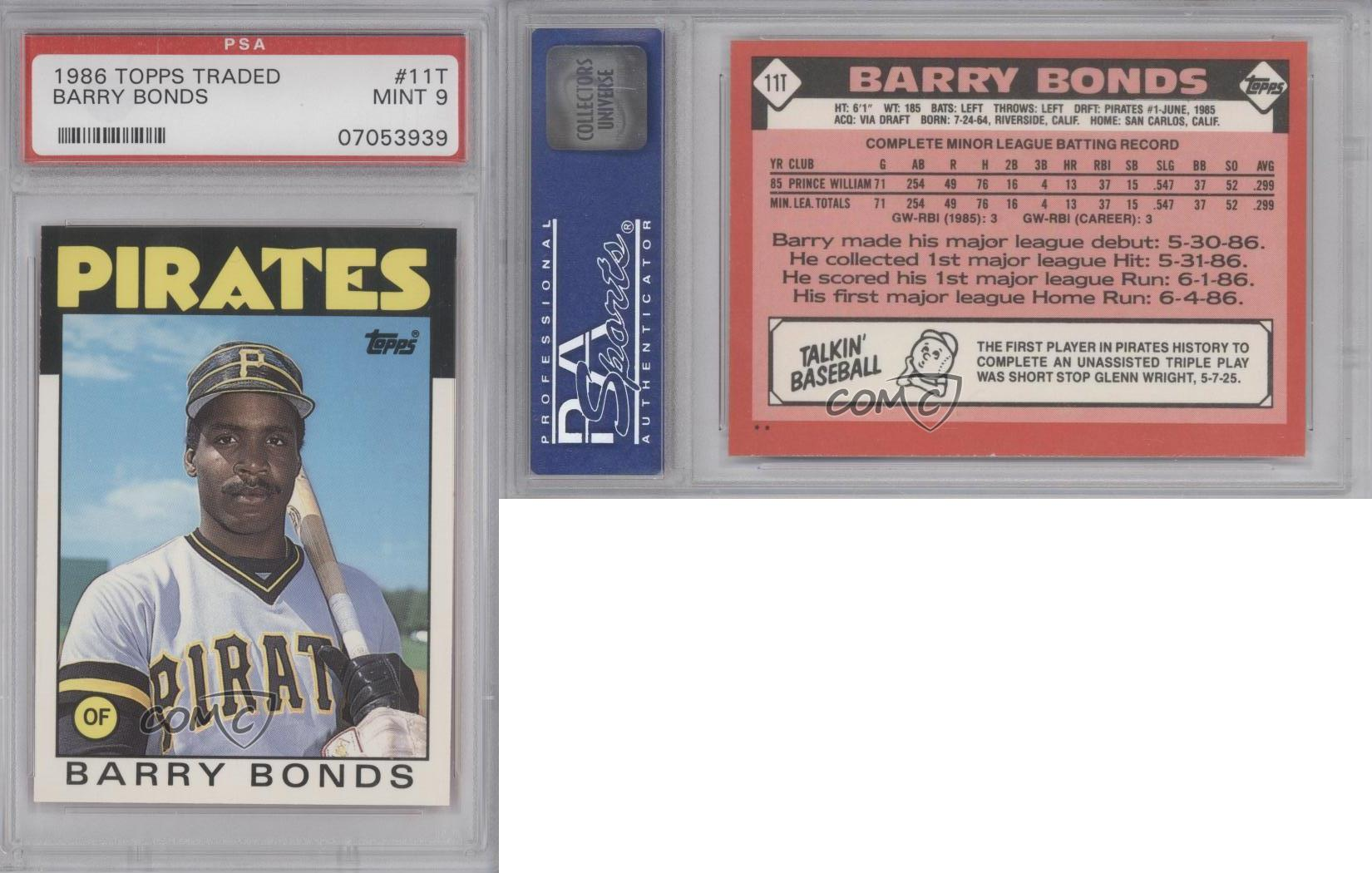 1986 Topps Traded 11t Barry Bonds Psa 9 Pittsburgh