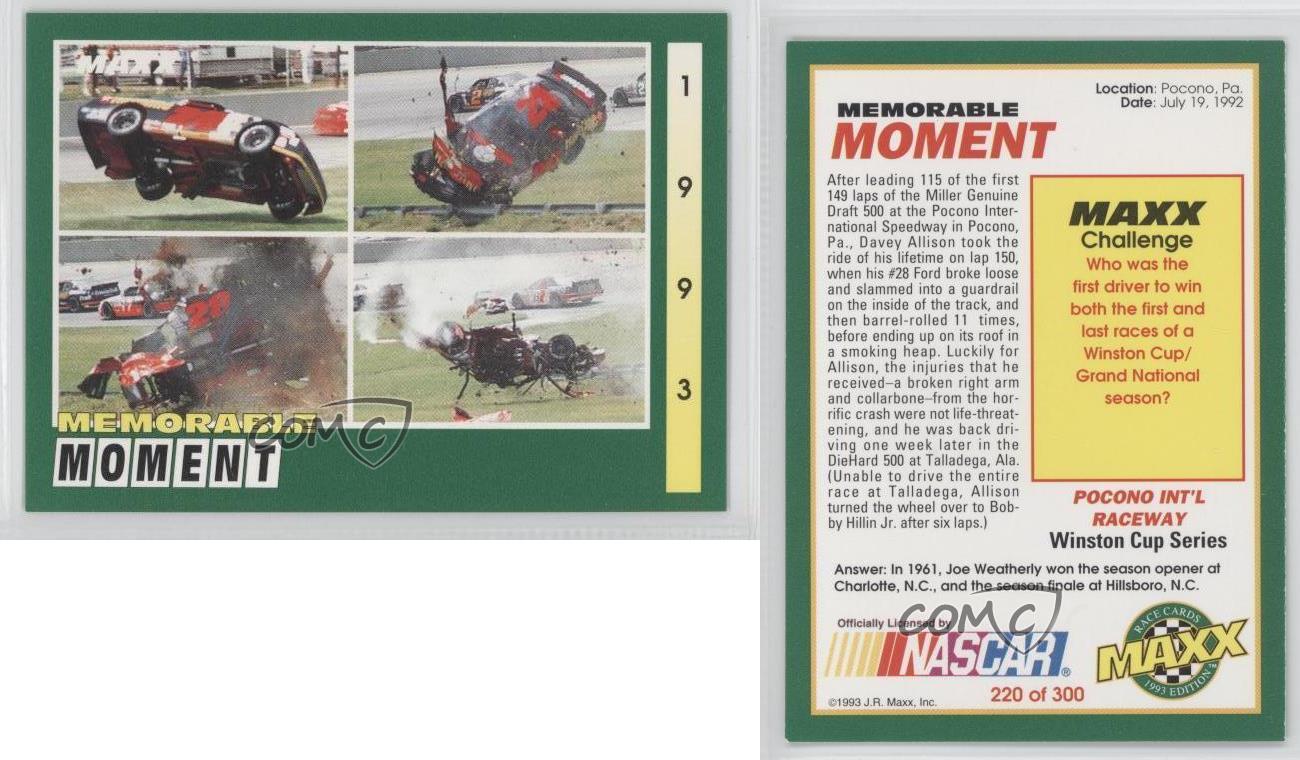 1993 tarjeta de carreras Maxx #220 Davey Allison | eBay
