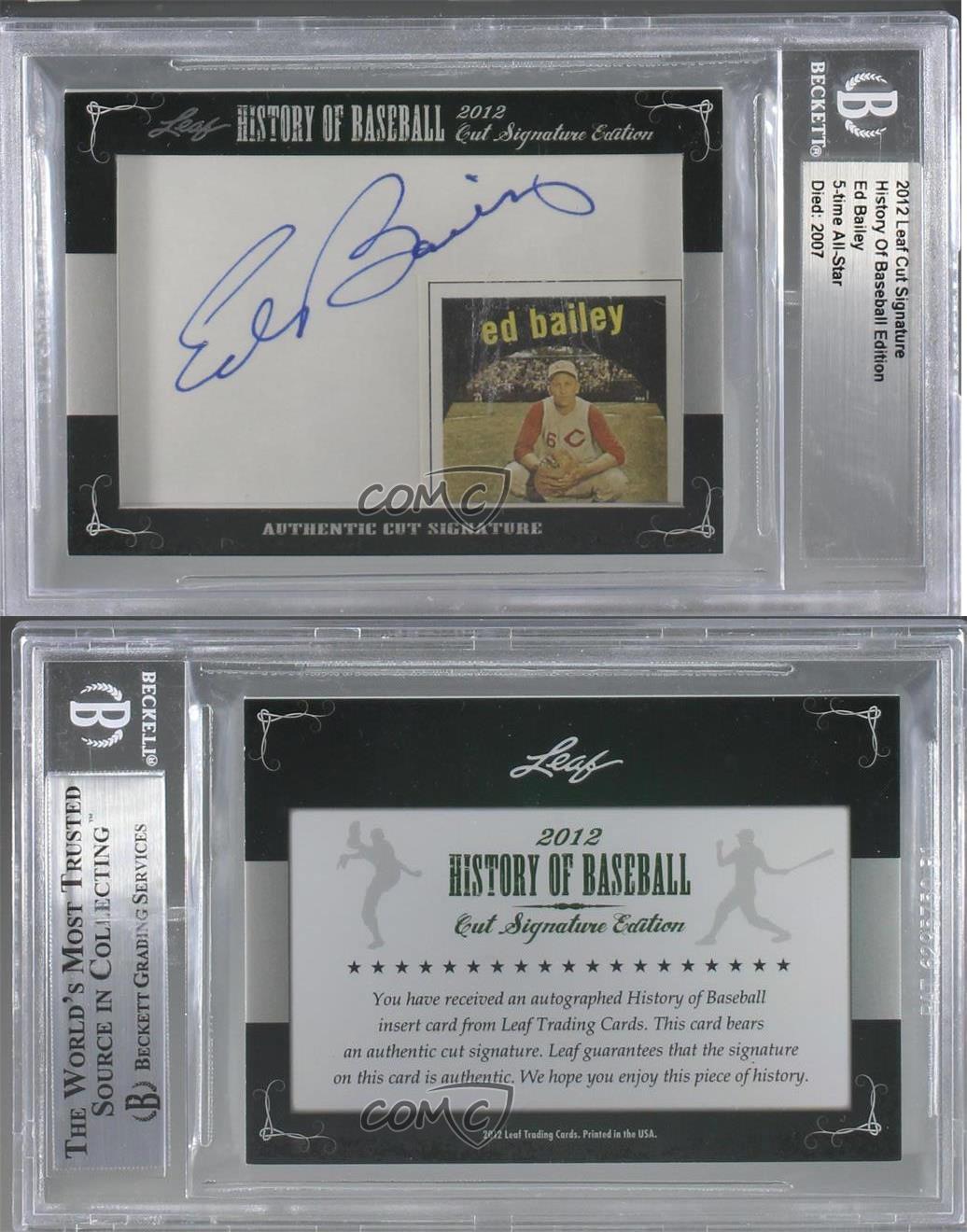2012-Leaf-History-of-Baseball-Cut-Signature-Edition-EDBA-Ed-Bailey-Auto-Card