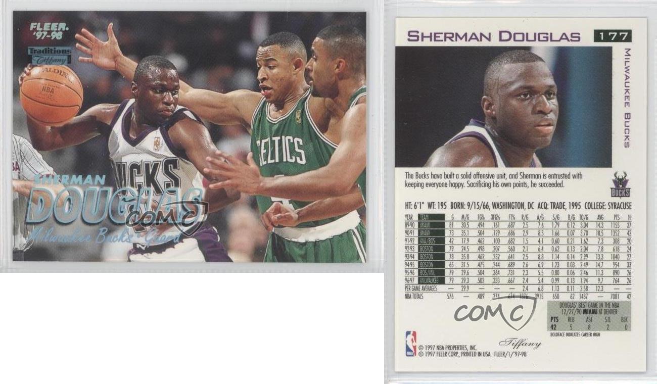 1997 98 Fleer Tiffany 177 Sherman Douglas Milwaukee Bucks