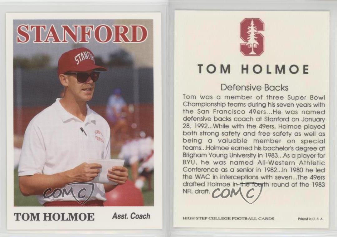 1992-High-Step-Stanford-Cardinal-TOHO-Tom-Holmoe-Football-Card