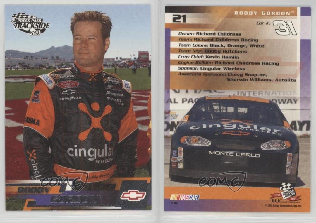 2003-Press-Pass-Trackside-21-Robby-Gordon-Racing-Card