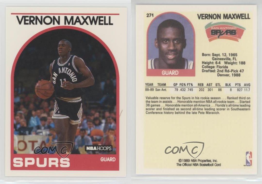 1989 90 NBA Hoops 271 Vernon Maxwell San Antonio Spurs RC Rookie