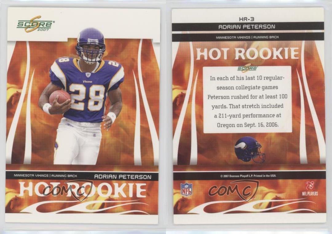 Details About 2007 Score Hot Rookie HR 3 Adrian Peterson Minnesota Vikings Football Card