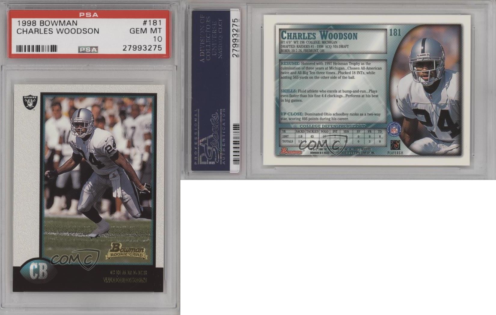1998-Bowman-181-Charles-Woodson-PSA-10-GEM-MT-Oakland-Raiders-RC-Football-Card