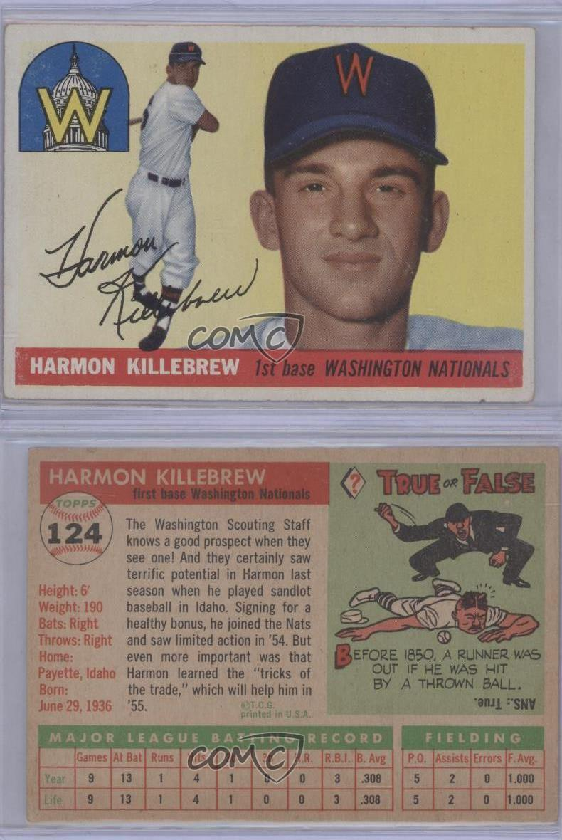 1955-Topps-124-Harmon-Killebrew-Washington-Nationals-RC-Rookie-Baseball-Card
