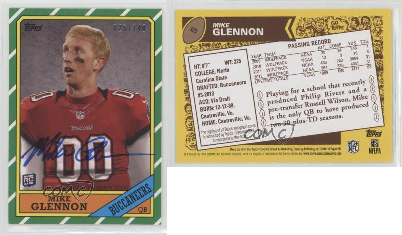 2013-Topps-1986-Rookie-Autographs-Autographed-5-Mike-Glennon-Auto-Football-Card