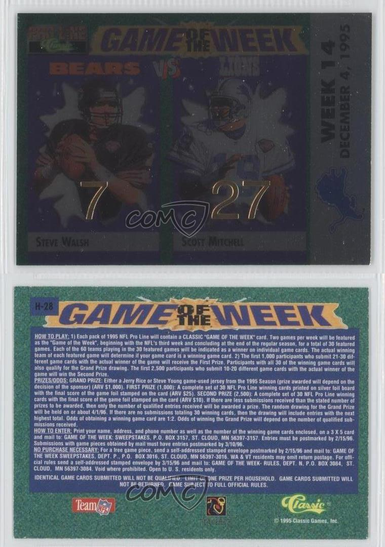 1995 classic pro line game of the week home prizes foil h for Classic house 1995