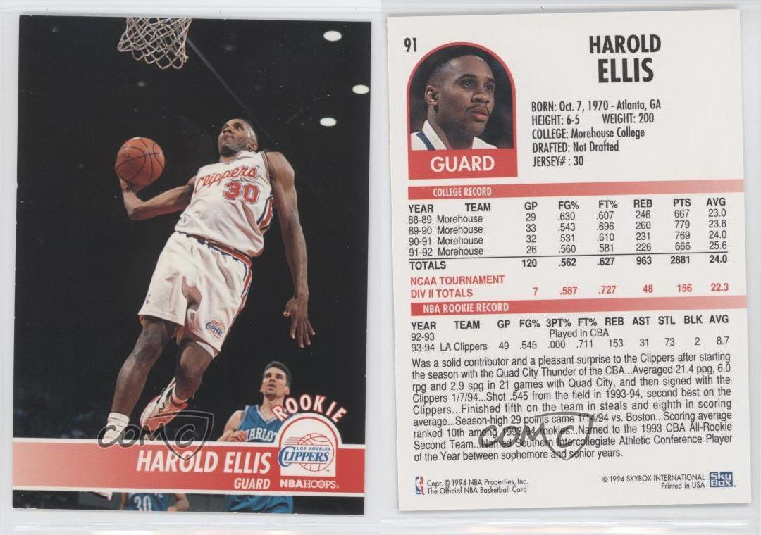 1994 95 Nba Hoops Harold Ellis 91 Ebay