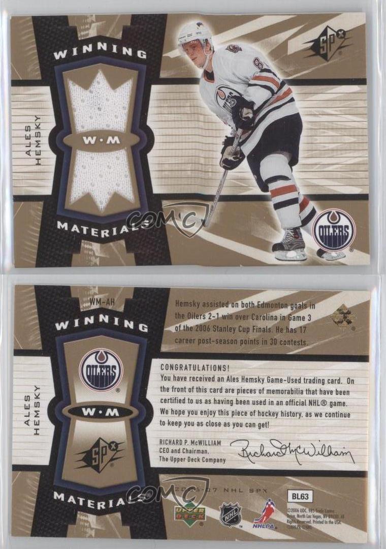 2006-07-SPx-Winning-Materials-WM-AH-Ales-Hemsky-Edmonton-Oilers-Hockey-Card