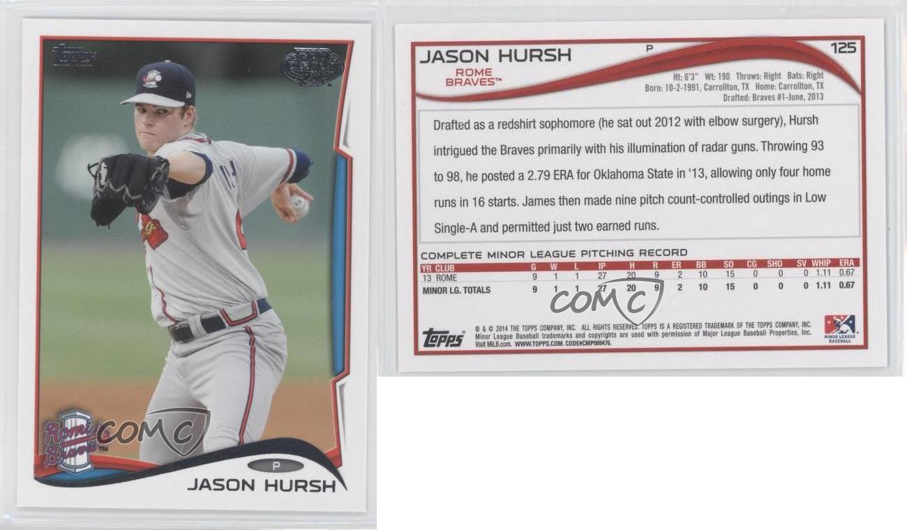 2014-Topps-Pro-Debut-125-Jason-Hursh-Rome-Braves-Rookie-Baseball-Card
