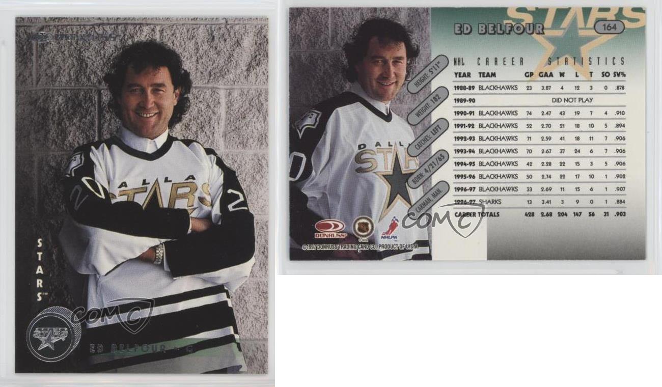 1997-98-Donruss-164-Ed-Belfour-Dallas-Stars-Hockey-Card