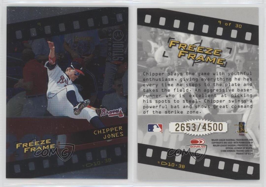 1998 Donruss Studio Freeze Frame #9 Chipper Jones Atlanta Braves ...