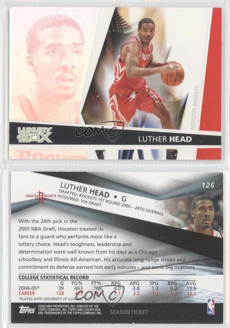 Se season tickets for houston rockets - 2005 Topps Luxury Box Season Ticket 126 Luther