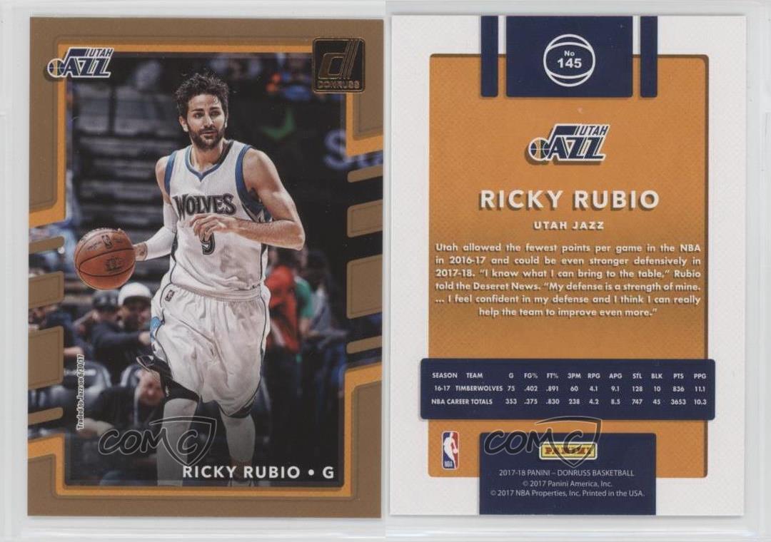 ... 2017-18-Panini-Donruss-145-Ricky-Rubio-Utah-  Charlotte Bobcats Gerald  Wallace adidas NBA Revolution 30 Swingman Jersey ... 11c526ef7