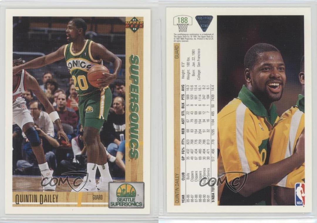 1991 92 Upper Deck 188 Quintin Dailey Seattle SuperSonics Tarjeta