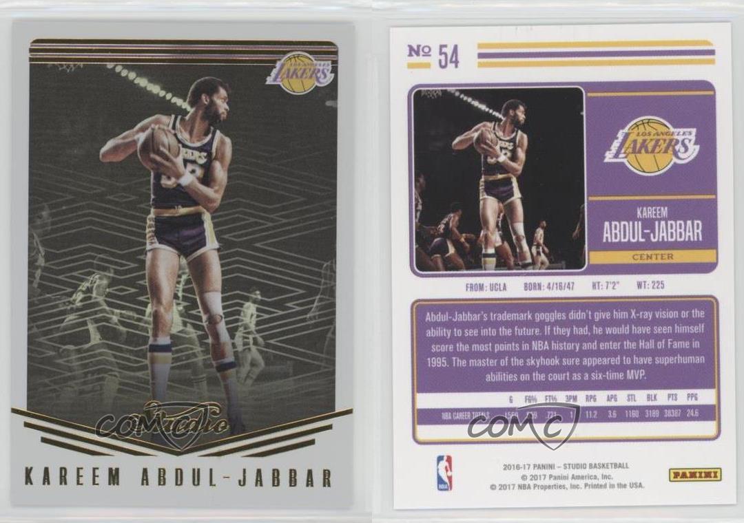 2016-17 Studio Los Angeles Lakers Basketball Card #54 Kareem Abdul Jabbar